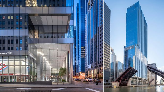 110 North Wacker and 151 North Franklin, Chicago, Illinois. Credit: Nick Ulivieri Photography
